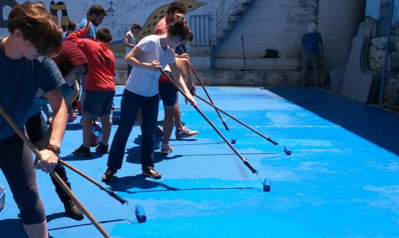 Reparación de espacio deportivo en Villa 20, CABA